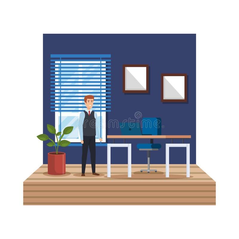 Elegant affärsman i arbetsplatsen vektor illustrationer