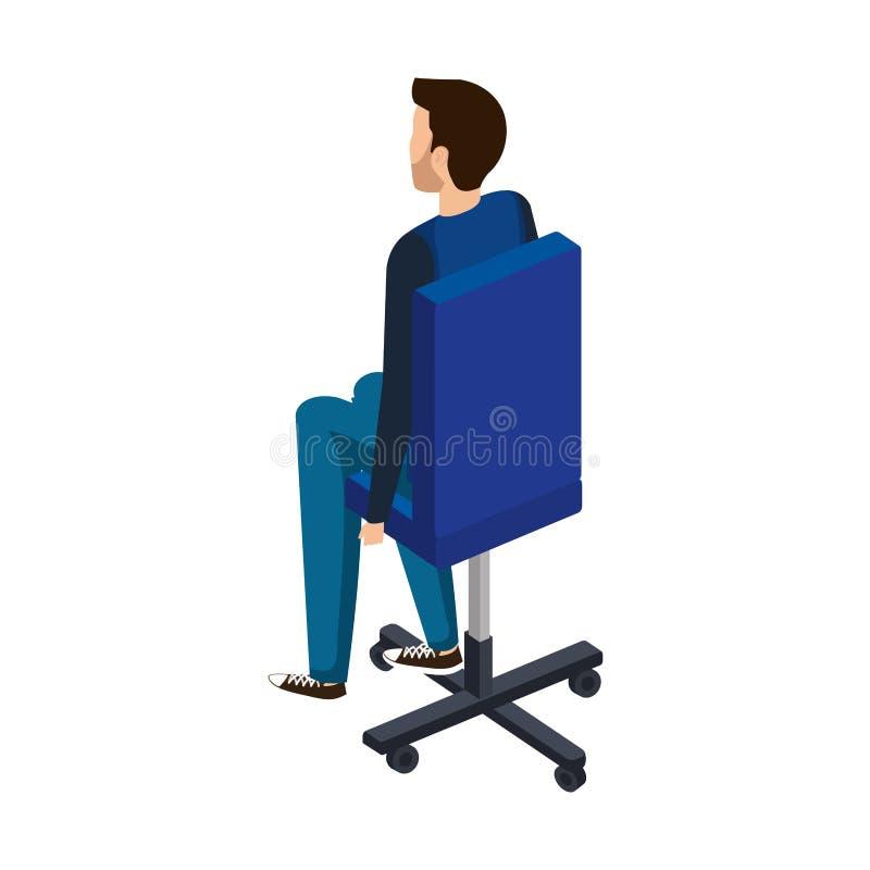 Elegant affärsman som i regeringsställning sitter stol royaltyfri illustrationer