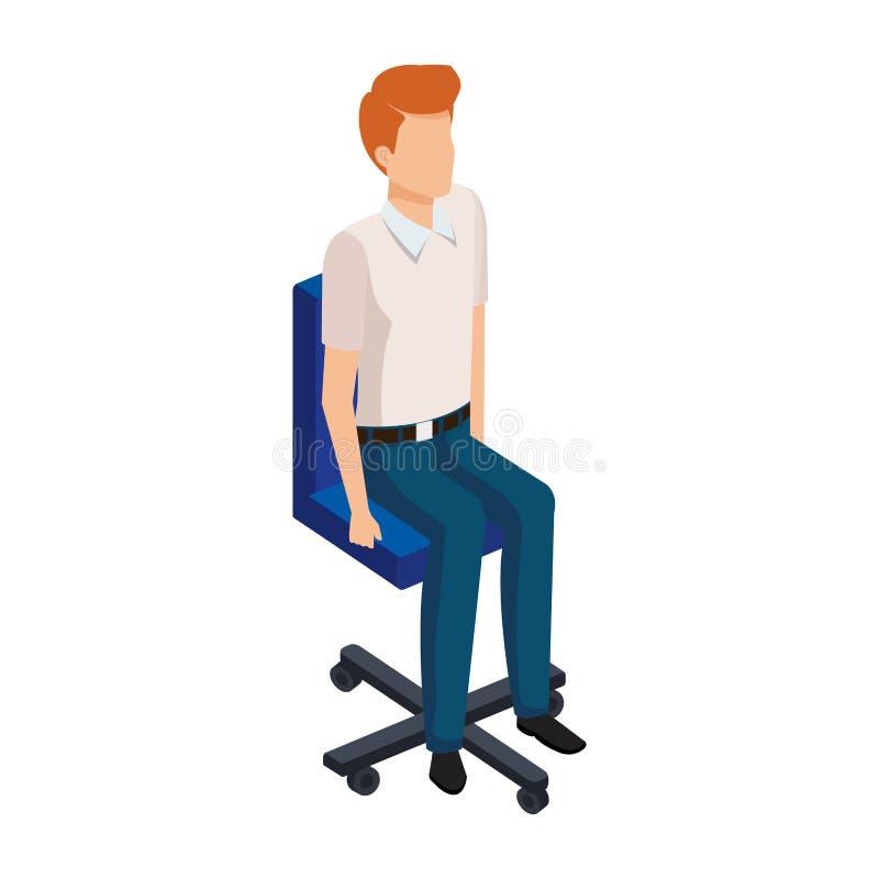 Elegant affärsman som i regeringsställning sitter stol vektor illustrationer