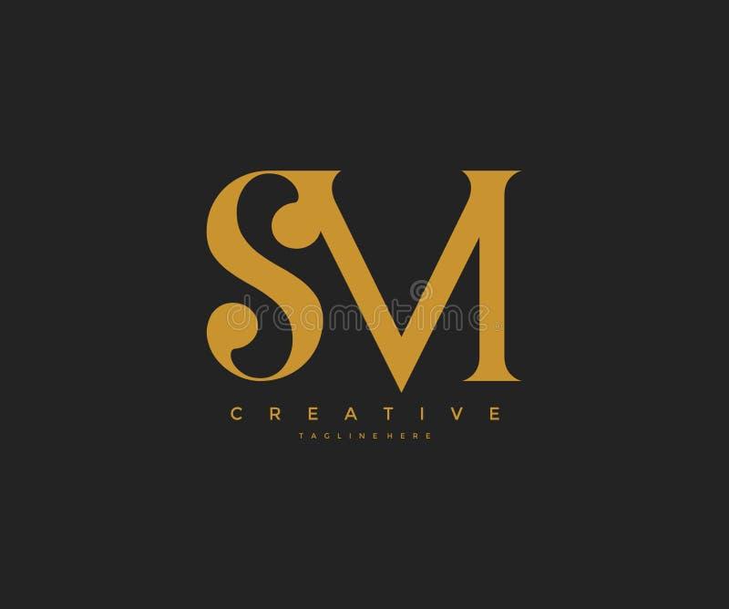 Elegant anknuten monogram Logo Design för SM bokstav vektor illustrationer