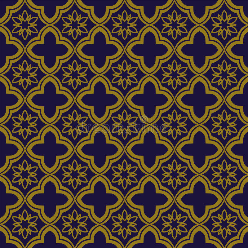 Elegant antique gold brown and blue background 375_oriental curve cross flower. Antique background image patterns can be used for wallpaper, web page background royalty free illustration