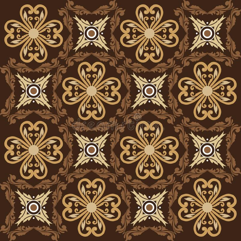 Elegant Art Work Of Flower Motifs On Parang Batik Design