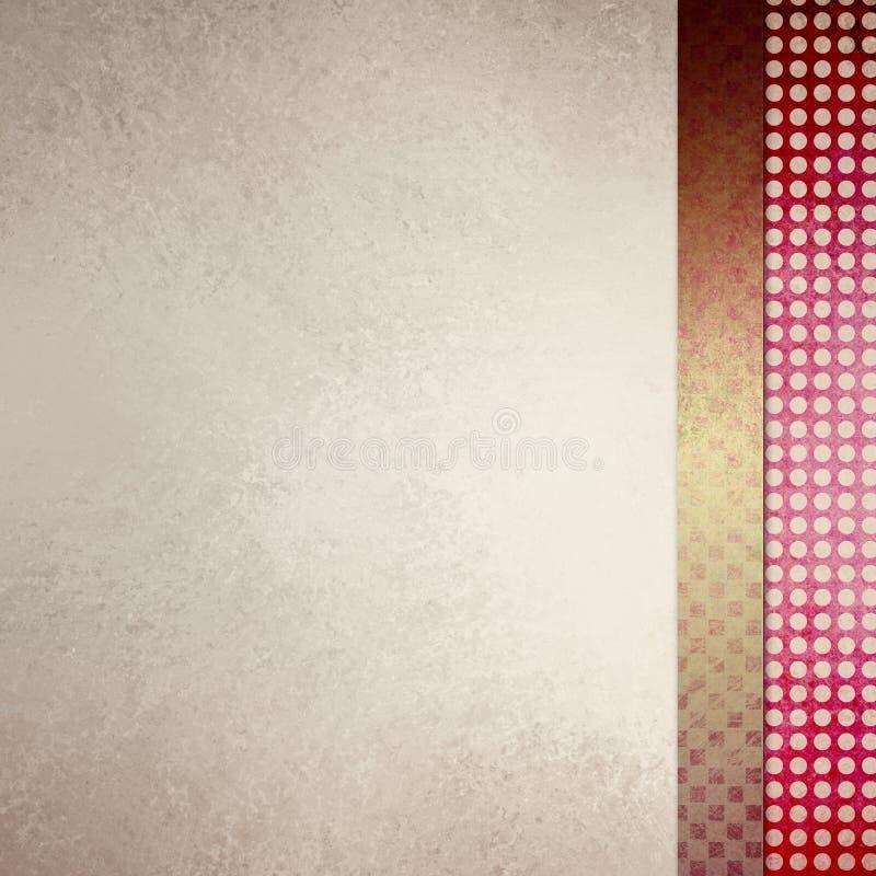 Elegant av vit bakgrund med sidofältet planlägger i röda och guldtexturer vektor illustrationer