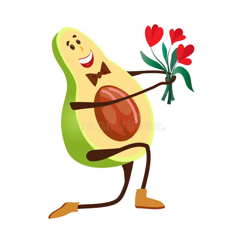 Elegant avocado character give a bouquet of flower royalty free illustration
