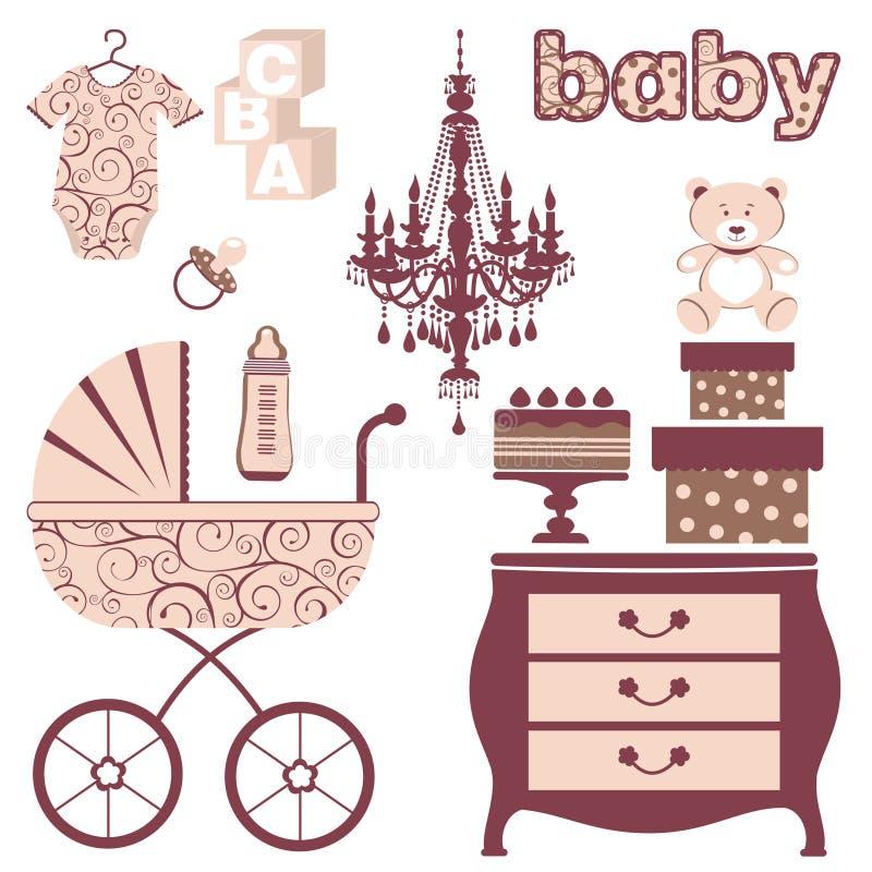Elegant baby shower set vector illustration