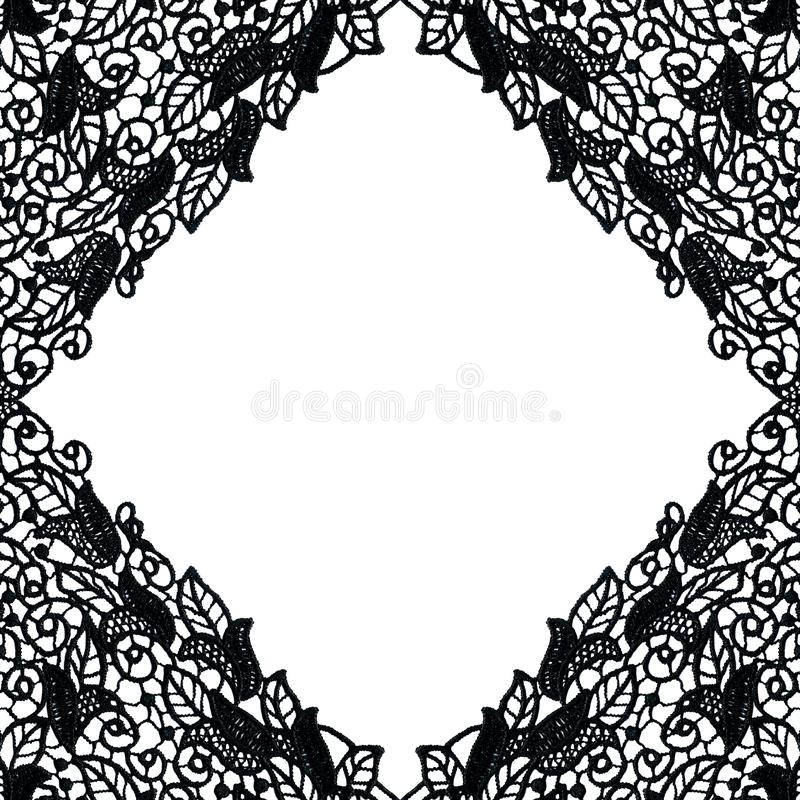 Elegant background from black guipure on a white basis. Lace frame. Floral ornament. Vintage style. stock illustration
