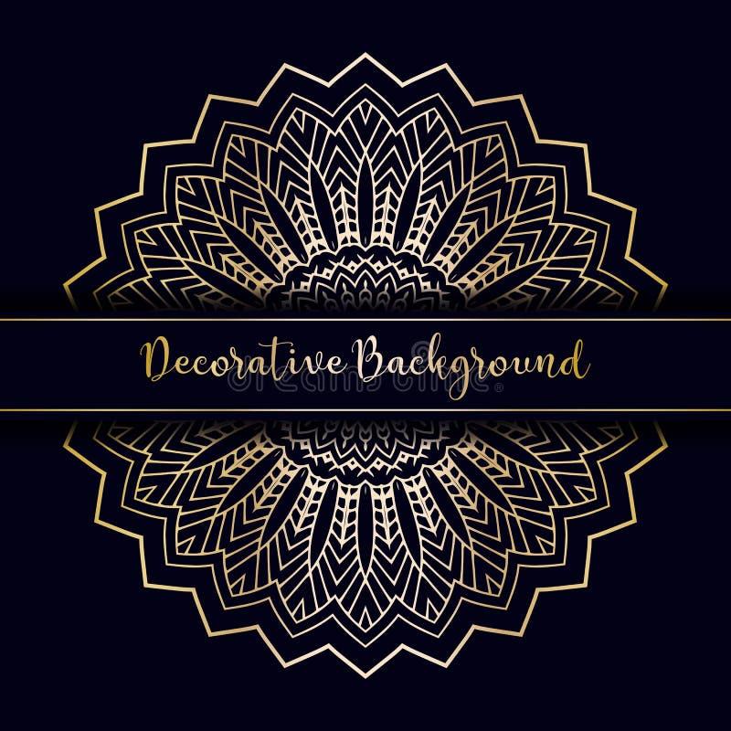 Elegant mandala design in gold and blue vector illustration