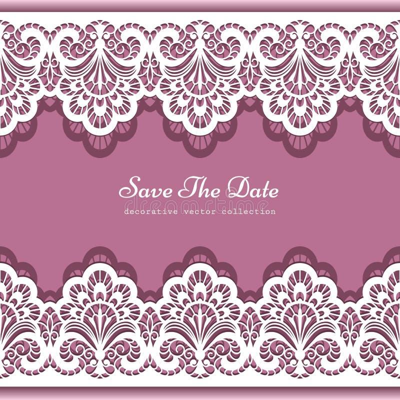 Border For Invitation Card Invitation Wedding Border: Elegant Background With Lace Border Ornament Stock Vector