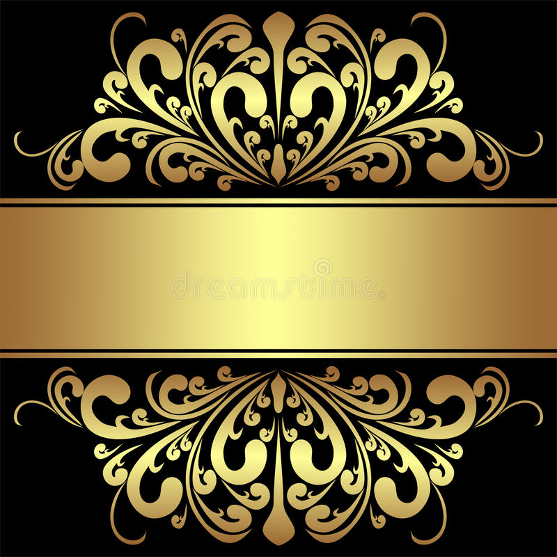 Elegant Background With Royal Golden Borders And Ribbon Stock Vector