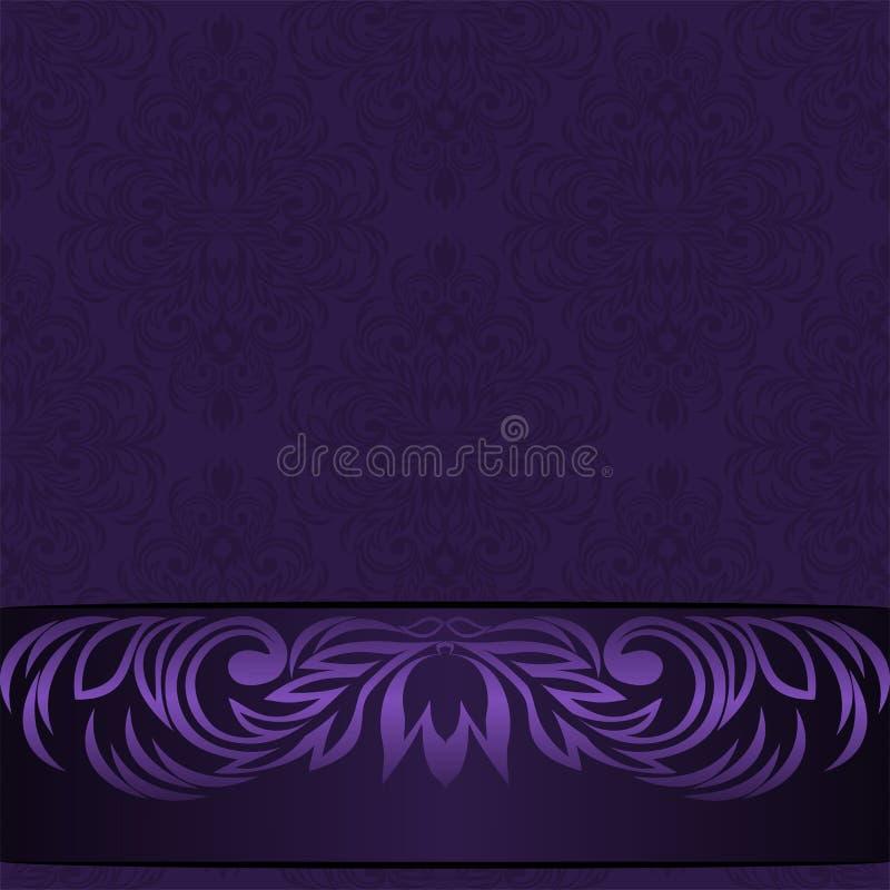 Elegant bakgrund för damast violet med den dekorativa gränsen - inbjudandesign stock illustrationer