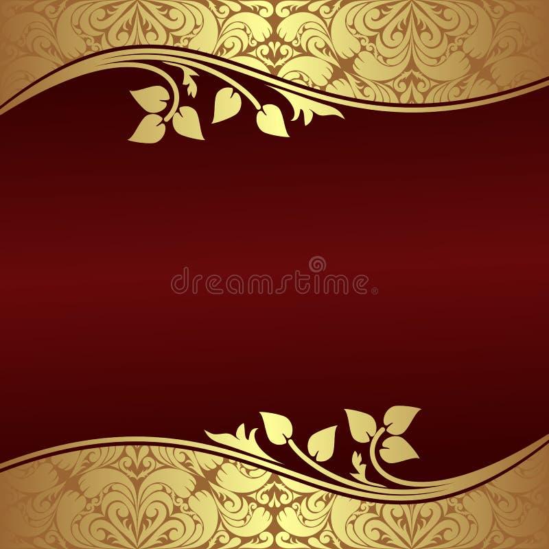 Elegant bakgrund med blom- guld- gränser. stock illustrationer