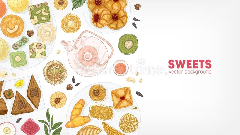 Elegant banner template with oriental sweets on plates and teapot on white background. Traditional dessert meals, tasty. Confections, delicious pastry food vector illustration