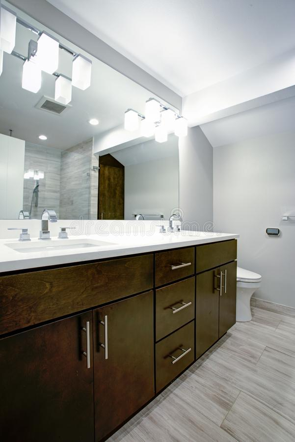Elegant bathroom with espresso double vanity. With pure white countertops, undermount sinks, large mirror and glass shower stock images