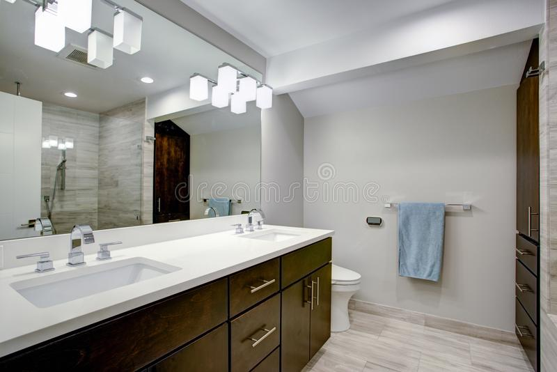 Elegant bathroom with espresso double vanity. With pure white countertops, undermount sinks, large mirror and glass shower royalty free stock images