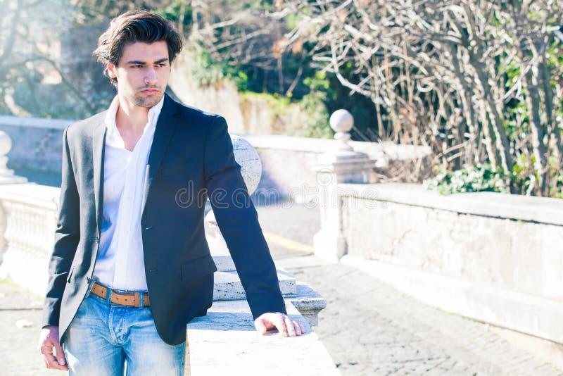Elegant beautiful business pensive man stock photo