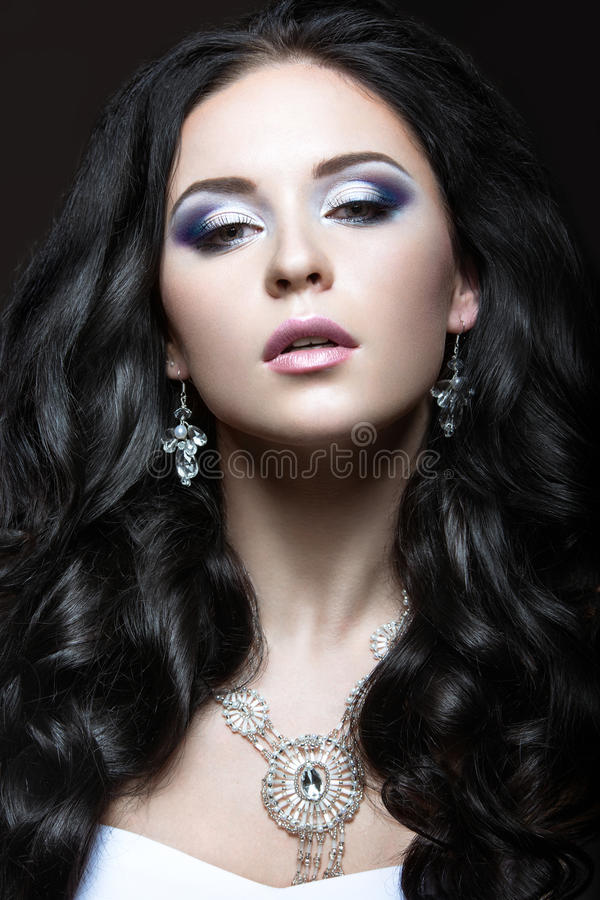 Elegant beautiful girl with silver makeup and black curls. Winter image. Beauty face. royalty free stock photography