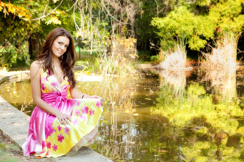 Download Elegant Beautiful Woman With Colorful Dress Stock Photo - Image: 13894882