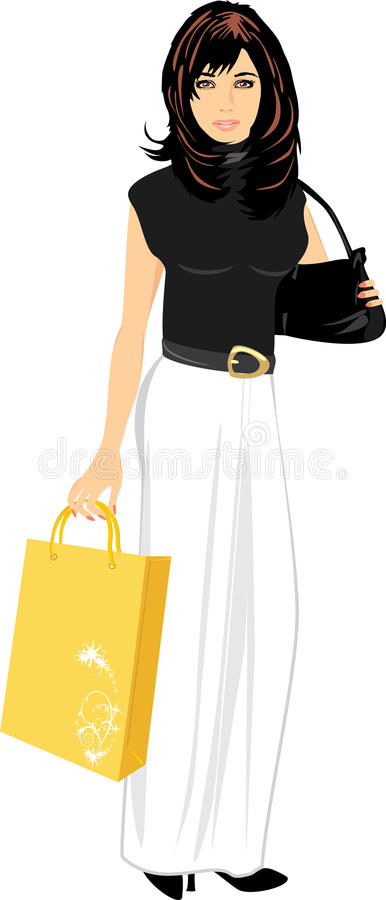 Elegant beautiful woman with handbag and package royalty free illustration