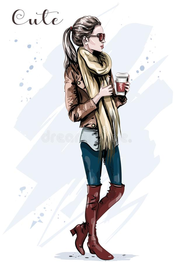 Elegant beautiful young woman with paper coffee cup. Hand drawn fashion woman. royalty free illustration