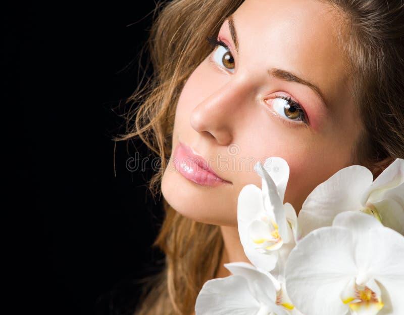 Elegant beauty shot of young brunette. stock image