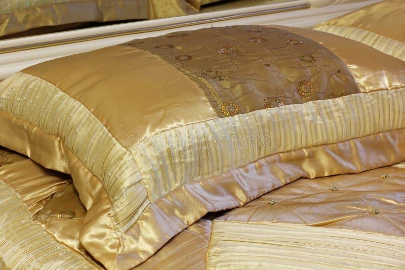Elegant bed. Beautiful pillow. Luxury bedroom stock photo