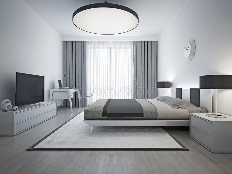 Elegant bedroom contemporary style. Monochrome interior bedroom with elegant double bed and white patterned carpet with black frame. 3D render royalty free stock photo