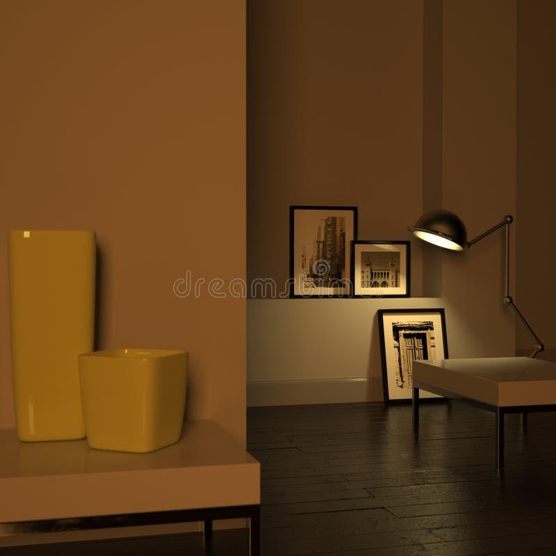 Elegant binnenland (nacht) vector illustratie