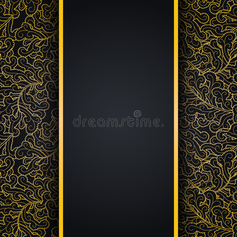 Elegant black background with gold lace ornament stock illustration