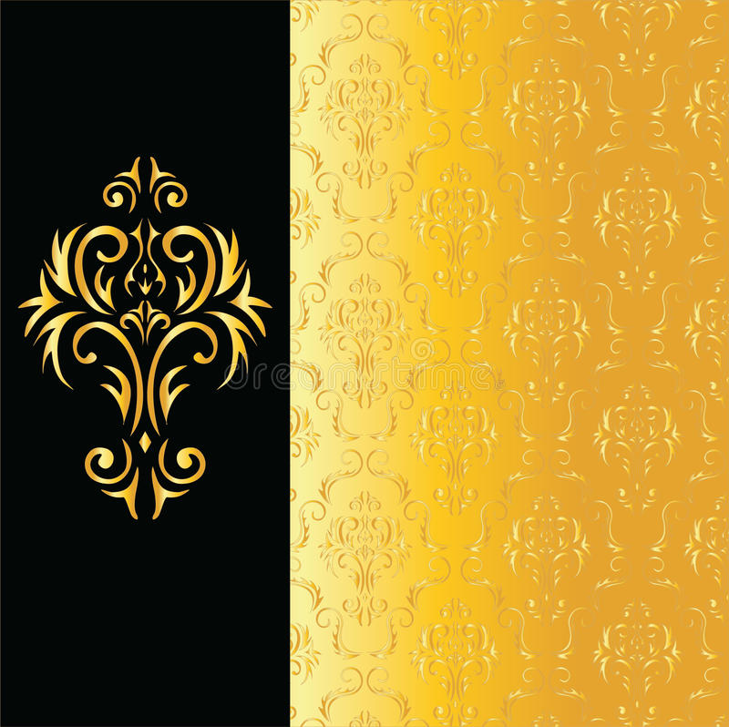 Elegant black and gold background stock illustration
