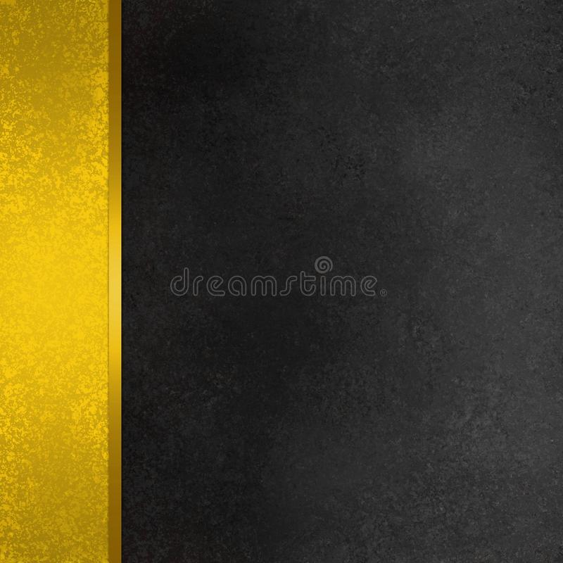 Elegant black and gold background with line or ribbon material with shiny metal texture on sidebar panel with vintage grunge paint. On dark chalkboard textured vector illustration