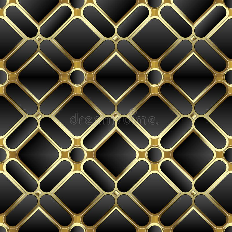 Elegant black and gold 3d geometric seamless pattern. Ornate symmetrical waffle background. Repeat geometry shapes vector illustration