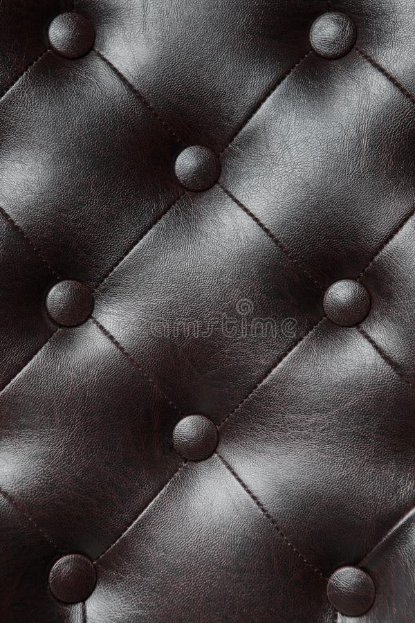 Elegant black leather texture of armchair with buttons for pattern and background. Elegant black leather texture of armchair with buttons for pattern and stock image