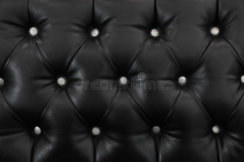 Elegant black leather texture with white buttons for background. It is elegant black leather texture with white buttons for background and design stock images