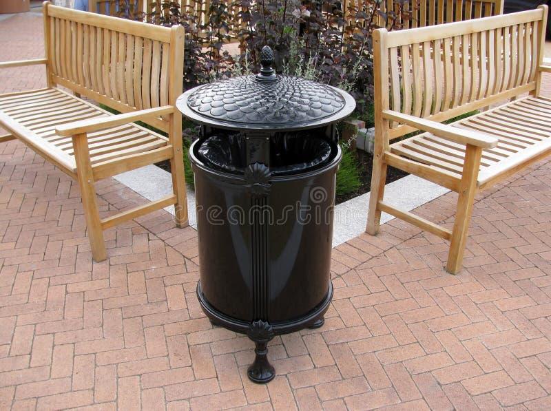 Elegant black metal trash can. royalty free stock photo