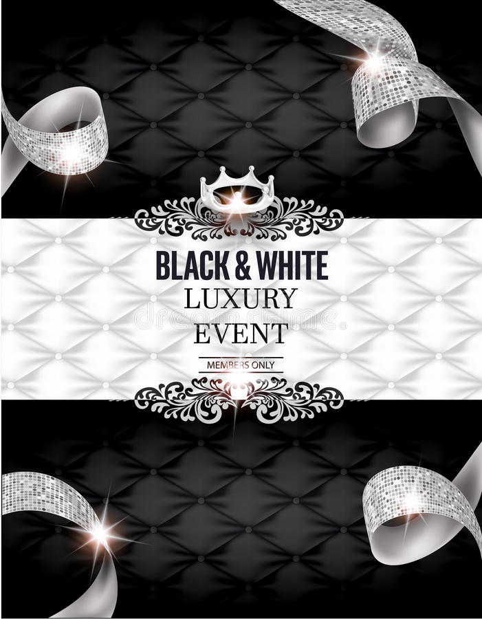 Elegant BLACK & WHITE Luxury event invitation card with silk textured curled ribbons and leather background. Vector illustration royalty free illustration