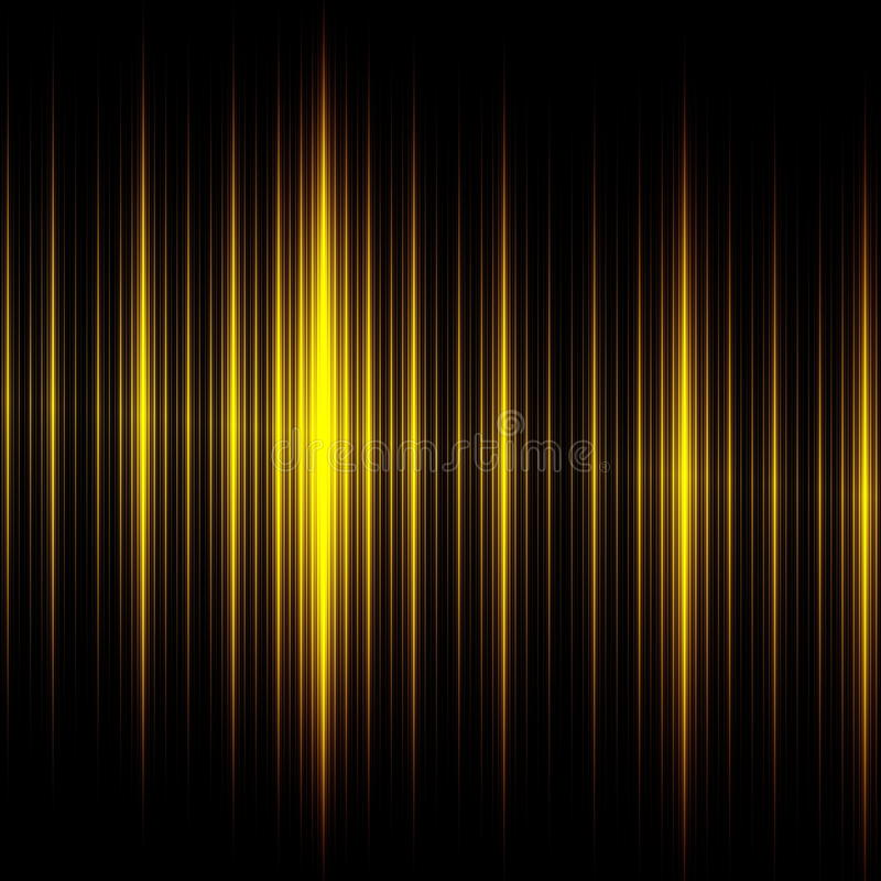 Elegant Black Yellow Lines Background. Beautiful Abstract Design. Creative Modern Technology Illustration. Dark Glowing Texture. Light Effect. Business Website stock illustration