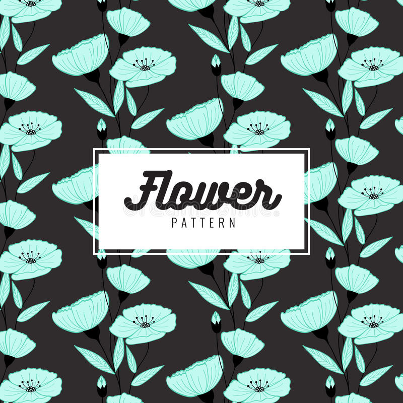 Elegant bloem naadloos patroon op zwarte achtergrond Harmonische kleurencombinaties Druktextuur Stoffenontwerp vector illustratie