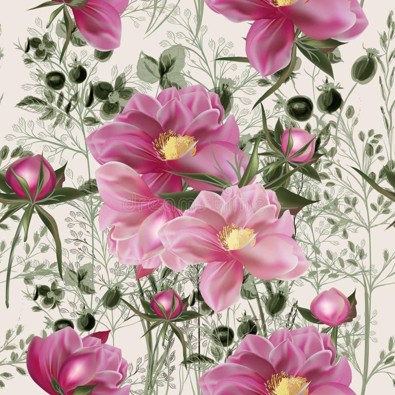 Elegant bloem vectorpatroon met pioenbloemen Provan wijnoogst stock illustratie