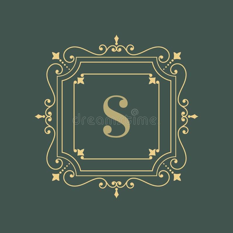 Elegant bloemen het ontwerpmalplaatje van het monogramembleem vector illustratie