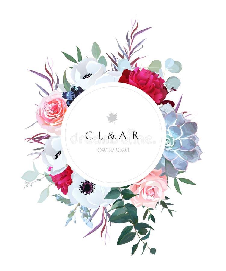 Elegant bloemendieetiketkader van bladeren en bloemen wordt geschikt royalty-vrije illustratie