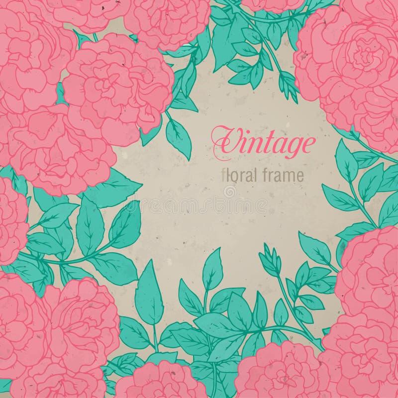 Elegant blom- mall med färgrik hand drog buskerosor och royaltyfri illustrationer