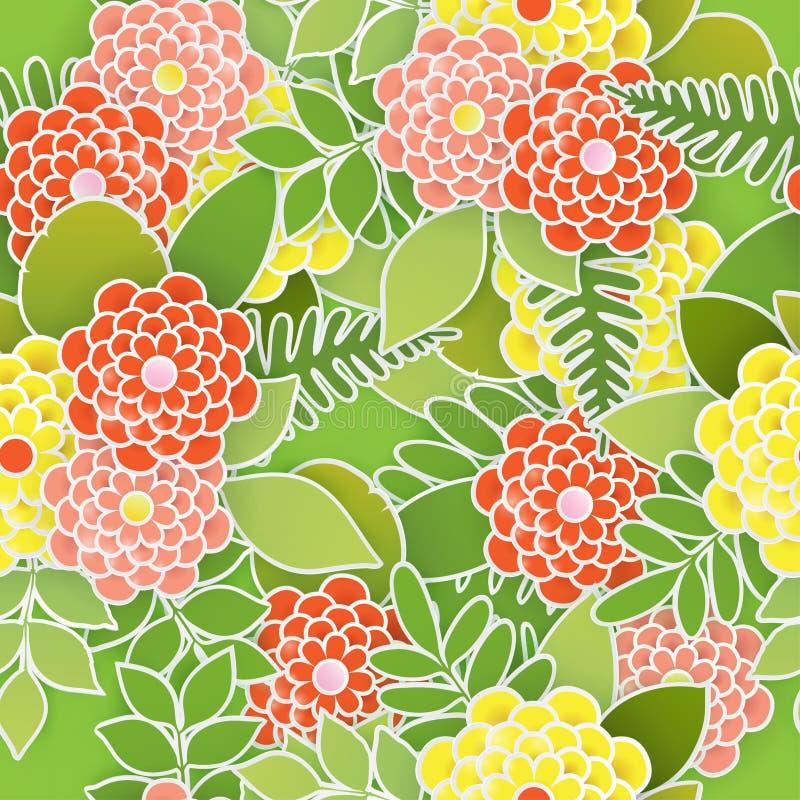 Elegant blom- sömlös bakgrund med pappers- blommor 3d vektor illustrationer