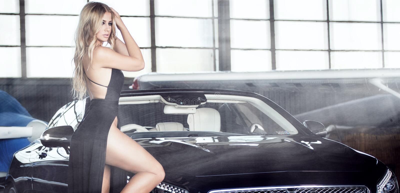 Elegant blonde luxury woman posing. royalty free stock images