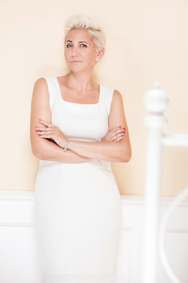 Elegant blonde luxury woman posing. royalty free stock photo