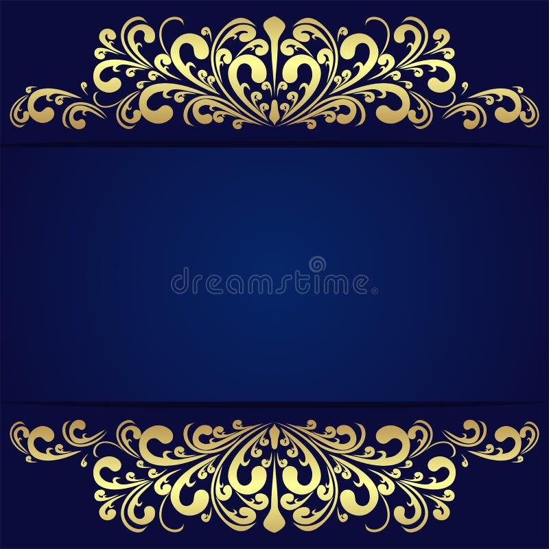 elegant blue background with floral golden borders stock