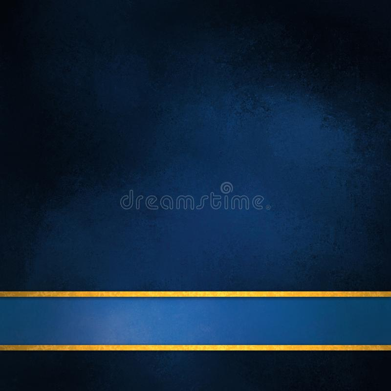 Elegant blue background layout with blank blue and gold stripe footer. Blue background with blue ribbon and gold trim stripes, elegant rich dark blue color with