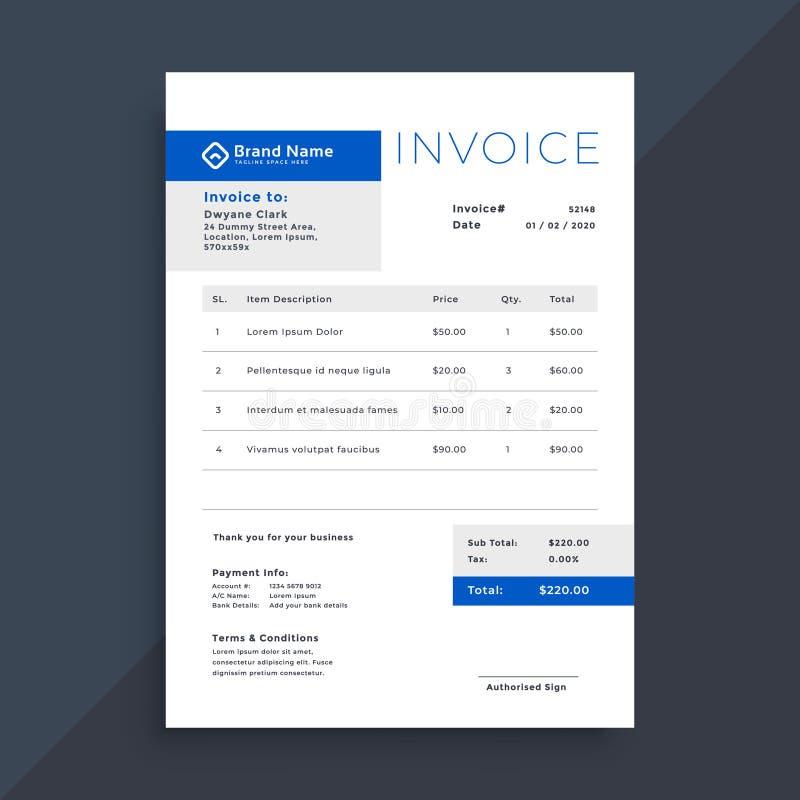Elegant blue business invoice template stock illustration