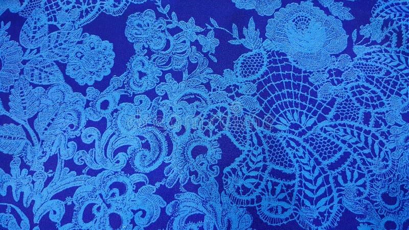 Elegant Blue Floral Lace Print. Background royalty free stock image