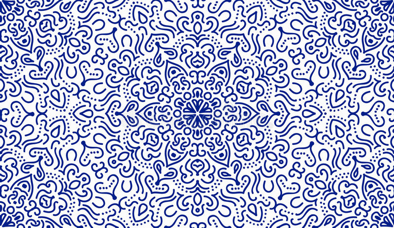 Elegant Blue Flower Line Pattern royalty free illustration
