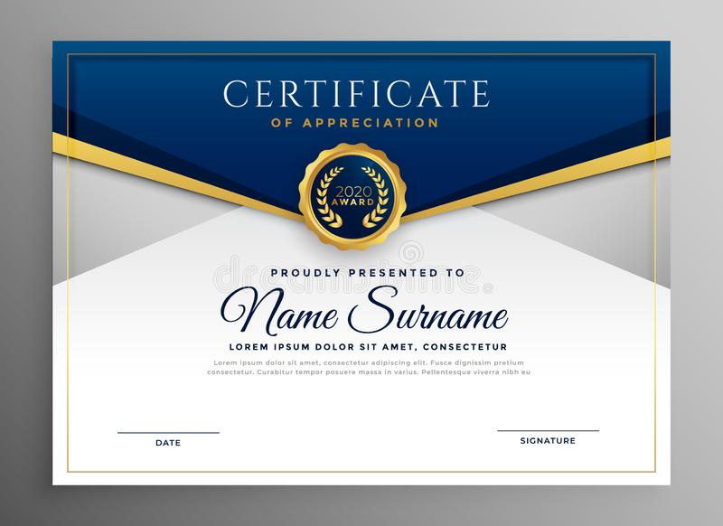 Elegant blue and gold diploma certificate template royalty free illustration